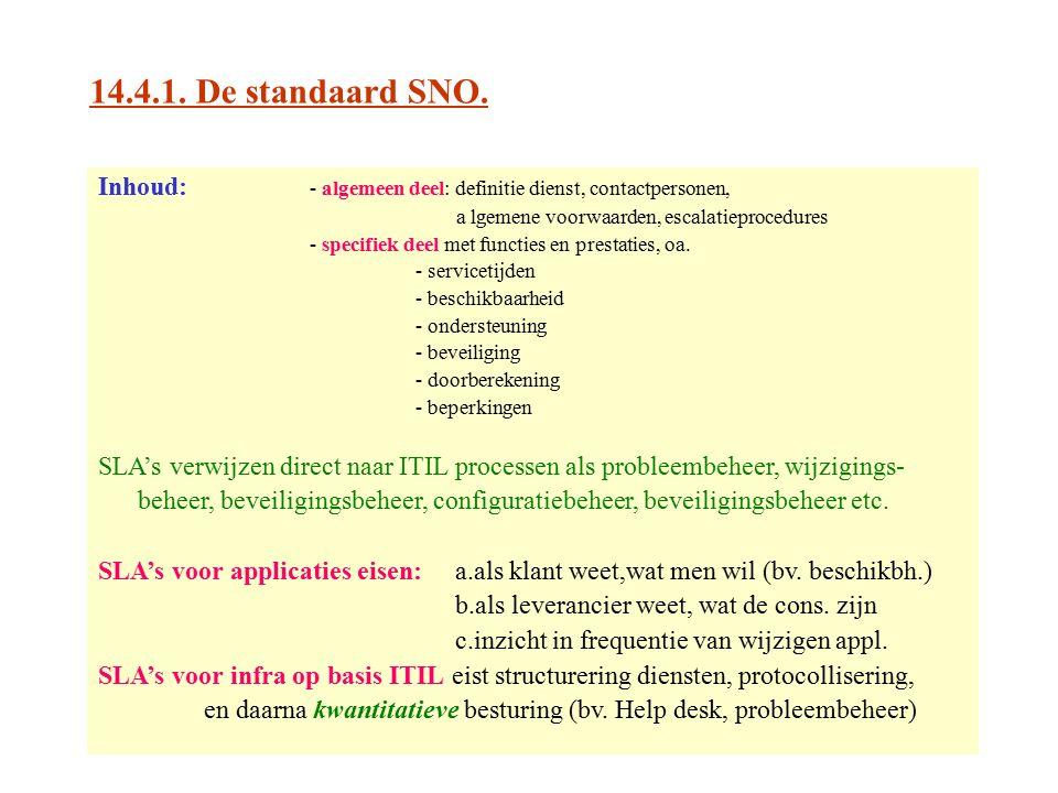 14.4.1. De standaard SNO. Inhoud: - algemeen deel: definitie dienst, contactpersonen, a lgemene voorwaarden, escalatieprocedures - specifiek deel met