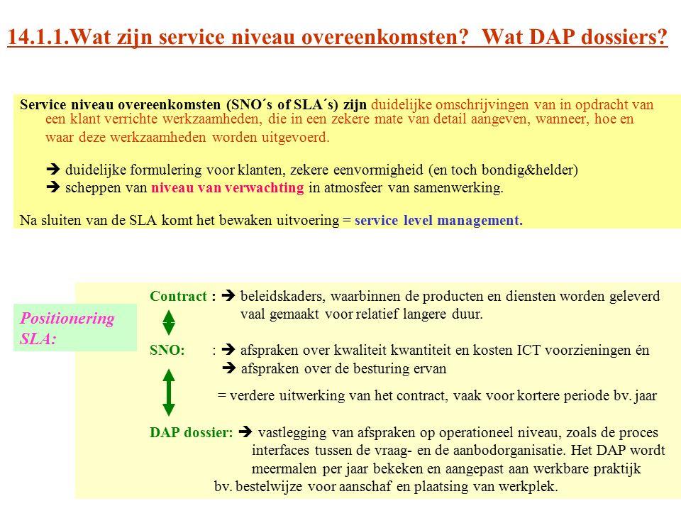 14.1.1.Wat zijn service niveau overeenkomsten? Wat DAP dossiers? Service niveau overeenkomsten (SNO´s of SLA´s) zijn duidelijke omschrijvingen van in