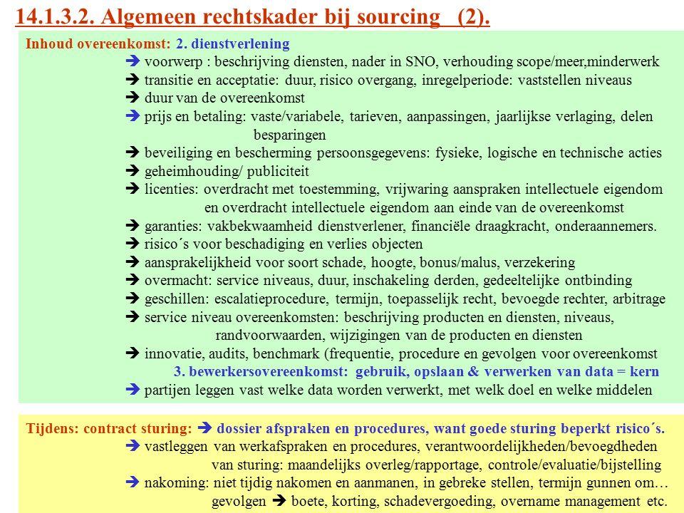 14.1.3.2. Algemeen rechtskader bij sourcing (2). Inhoud overeenkomst: 2. dienstverlening  voorwerp : beschrijving diensten, nader in SNO, verhouding