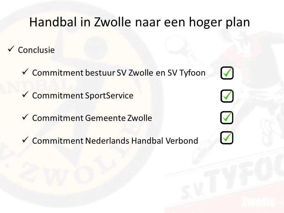 Handbal in Zwolle naar een hoger plan Conclusie Commitment bestuur SV Zwolle en SV Tyfoon Commitment SportService Commitment Gemeente Zwolle Commitment Nederlands Handbal Verbond