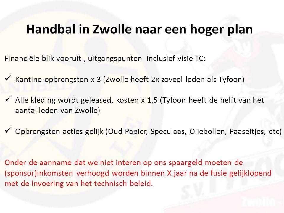 Financiële blik vooruit, uitgangspunten inclusief visie TC: Kantine-opbrengsten x 3 (Zwolle heeft 2x zoveel leden als Tyfoon) Alle kleding wordt geleased, kosten x 1,5 (Tyfoon heeft de helft van het aantal leden van Zwolle) Opbrengsten acties gelijk (Oud Papier, Speculaas, Oliebollen, Paaseitjes, etc) Onder de aanname dat we niet interen op ons spaargeld moeten de (sponsor)inkomsten verhoogd worden binnen X jaar na de fusie gelijklopend met de invoering van het technisch beleid.