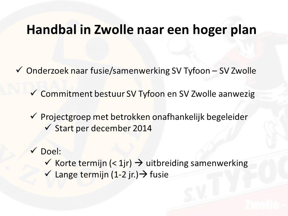 Handbal in Zwolle naar een hoger plan Onderzoek naar fusie/samenwerking SV Tyfoon – SV Zwolle Commitment bestuur SV Tyfoon en SV Zwolle aanwezig Projectgroep met betrokken onafhankelijk begeleider Start per december 2014 Doel: Korte termijn (< 1jr)  uitbreiding samenwerking Lange termijn (1-2 jr.)  fusie
