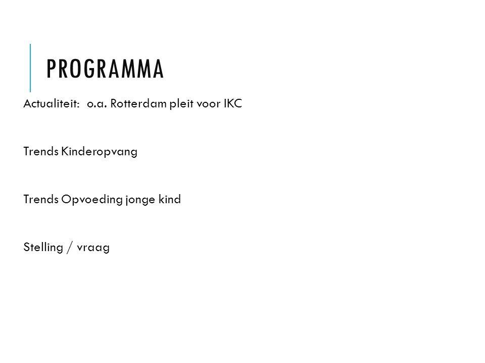 PROGRAMMA Actualiteit: o.a. Rotterdam pleit voor IKC Trends Kinderopvang Trends Opvoeding jonge kind Stelling / vraag
