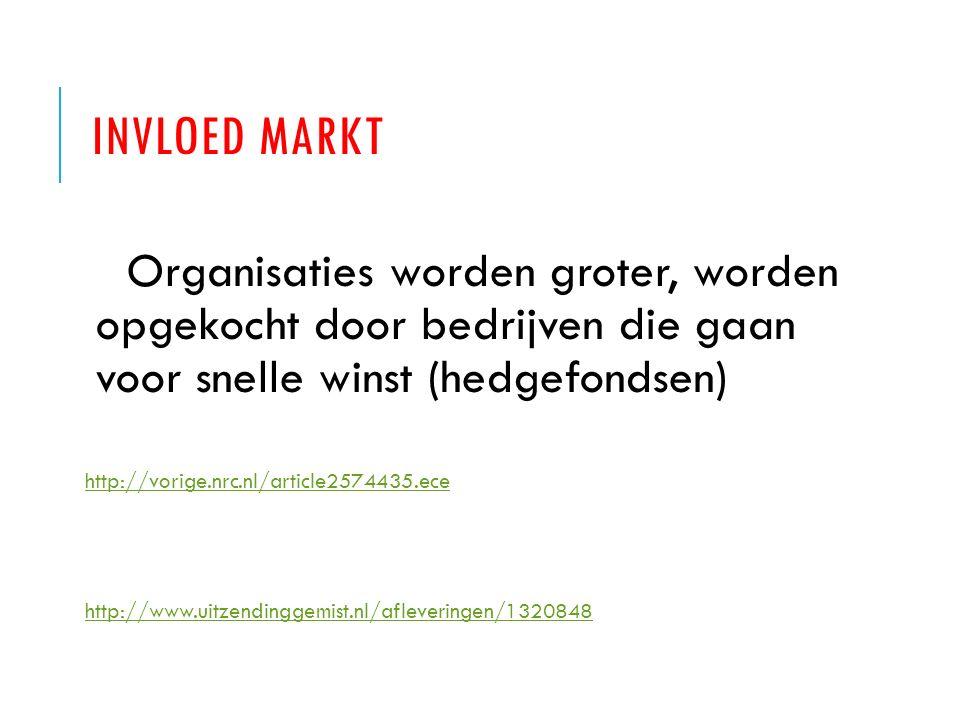 INVLOED MARKT Organisaties worden groter, worden opgekocht door bedrijven die gaan voor snelle winst (hedgefondsen) http://vorige.nrc.nl/article257443