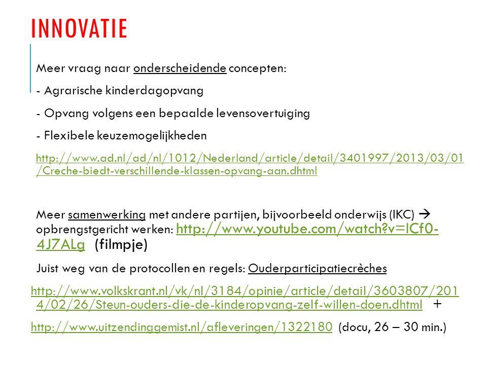 RAPPORT SECTORVISIE KINDEROPVANG ING (2012) OVERLEVEN IN EEN KRIMPMARKT : Wij verwachten daarbij dat investeren in samenwerkingsrelaties steeds belangrijker gaat worden http://www.ing.nl/Images/ING-Overleven-in-een-krimpmarkt-november- 2012_tcm7-123615.pdf?id=20140107024624