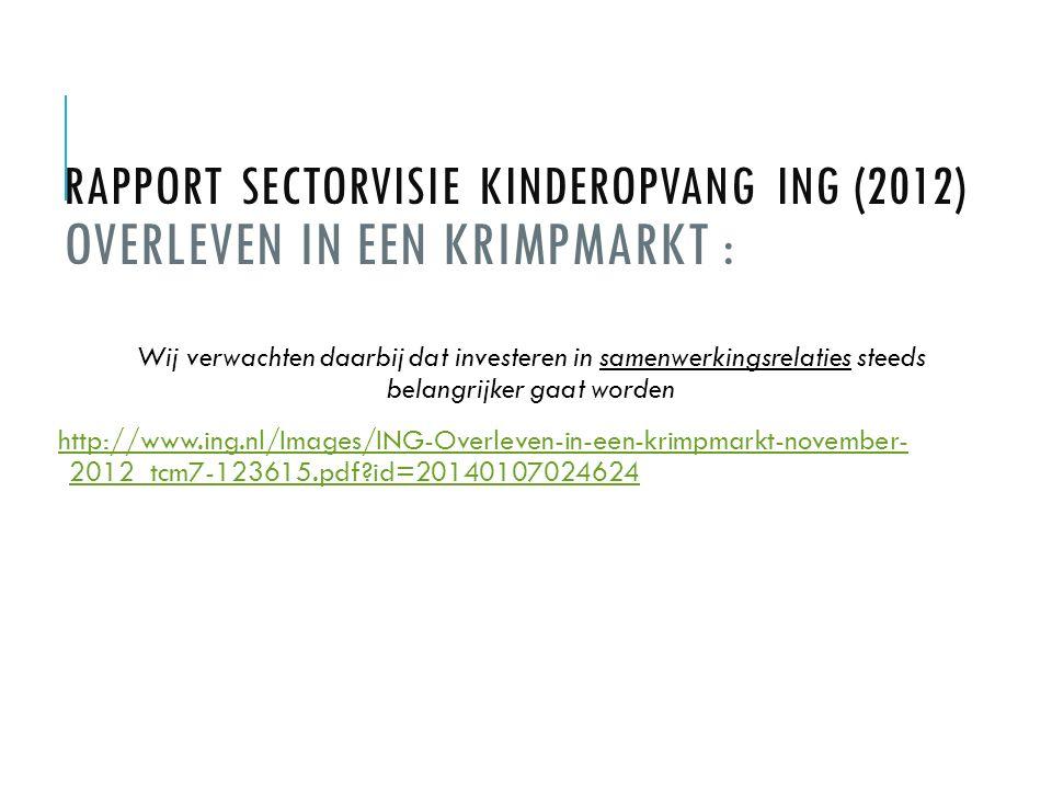Zie verder: Rapport 'De waarde van Kinderopvang' (2011) http://www.kinderopvangskar.nl/wp-content/uploads/2013/07/2011-33-de- waarde-van-kinderopvang-2013.pdf Rabobank Cijfers & Trends Kinderopvang https://www.rabobankcijfersentrends.nl/index.cfm?action=branche&branche=Kinderopvang&p=4