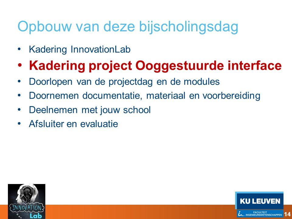 Opbouw van deze bijscholingsdag Kadering InnovationLab Kadering project Ooggestuurde interface Doorlopen van de projectdag en de modules Doornemen doc