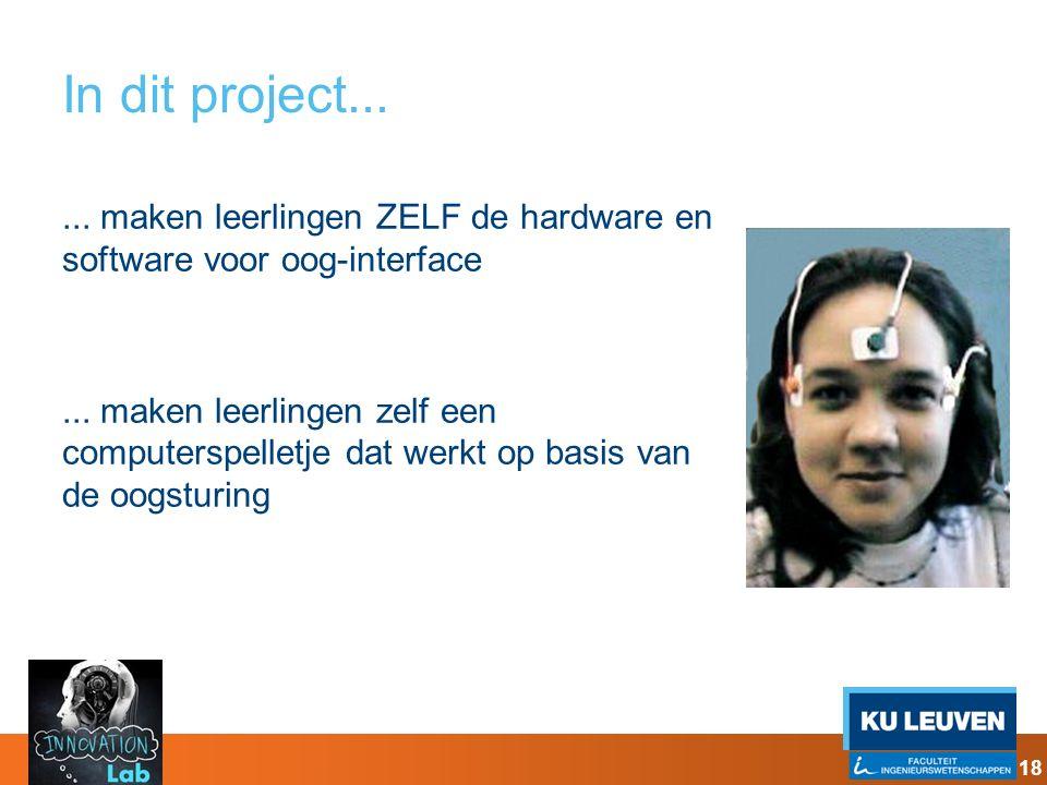 In dit project...... maken leerlingen ZELF de hardware en software voor oog-interface... maken leerlingen zelf een computerspelletje dat werkt op basi