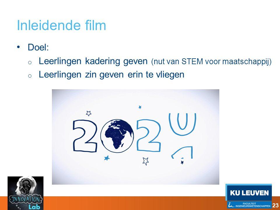 Inleidende film Doel: o Leerlingen kadering geven (nut van STEM voor maatschappij) o Leerlingen zin geven erin te vliegen 23