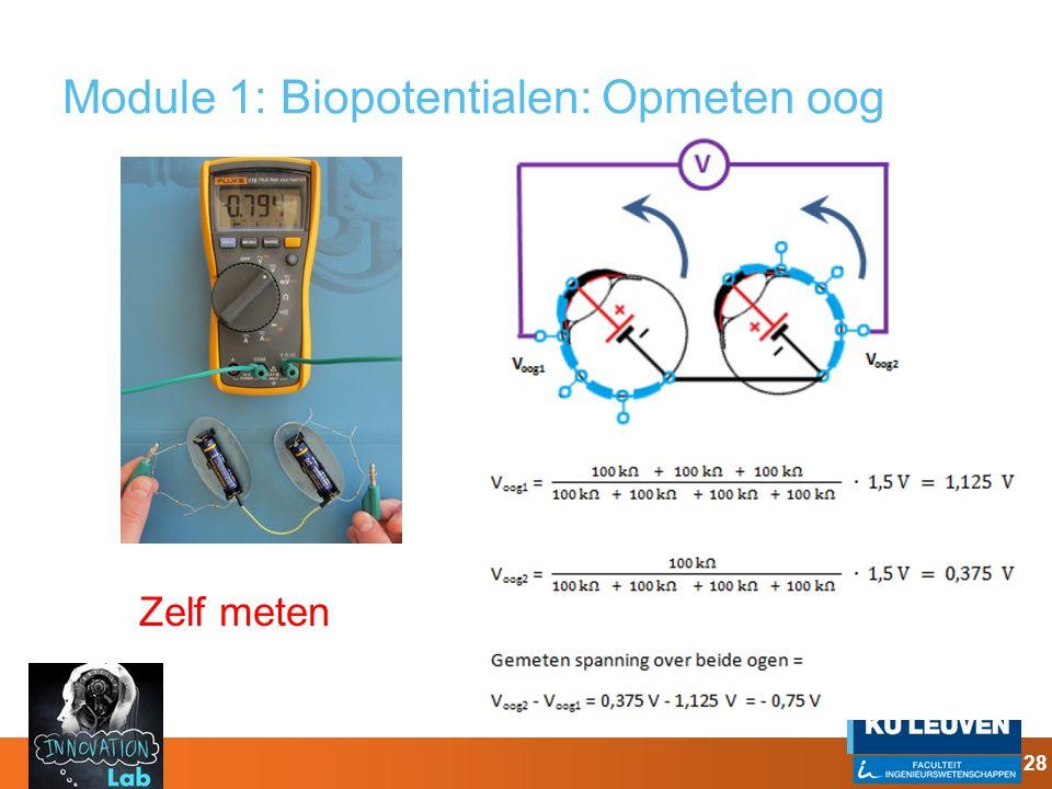 Module 1: Biopotentialen: Opmeten oog 28 Zelf meten