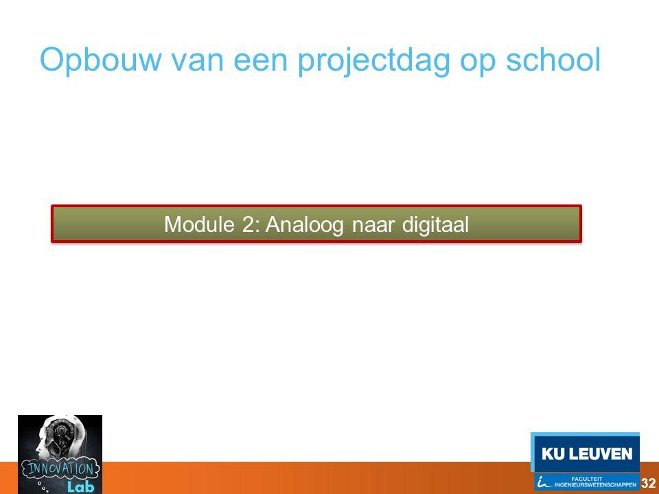 Opbouw van een projectdag op school Module 2: Analoog naar digitaal 32