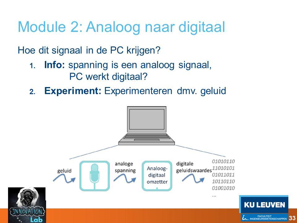 Module 2: Analoog naar digitaal Hoe dit signaal in de PC krijgen? 1. Info: spanning is een analoog signaal, PC werkt digitaal? 2. Experiment: Experime