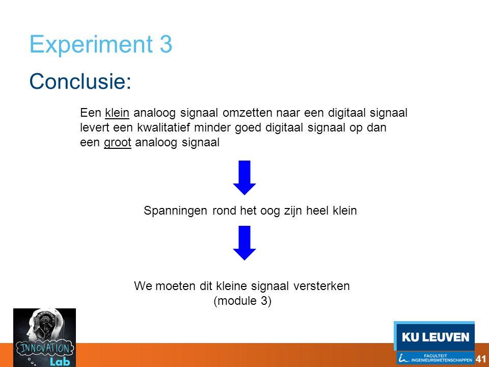 Experiment 3 Conclusie: 41 Een klein analoog signaal omzetten naar een digitaal signaal levert een kwalitatief minder goed digitaal signaal op dan een