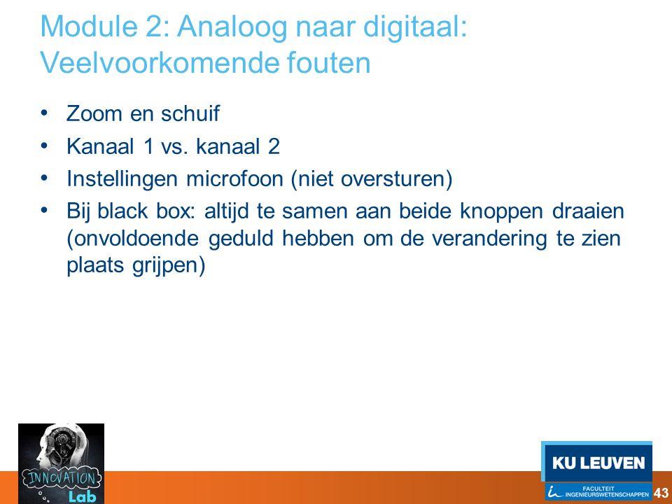 Module 2: Analoog naar digitaal: Veelvoorkomende fouten Zoom en schuif Kanaal 1 vs. kanaal 2 Instellingen microfoon (niet oversturen) Bij black box: a