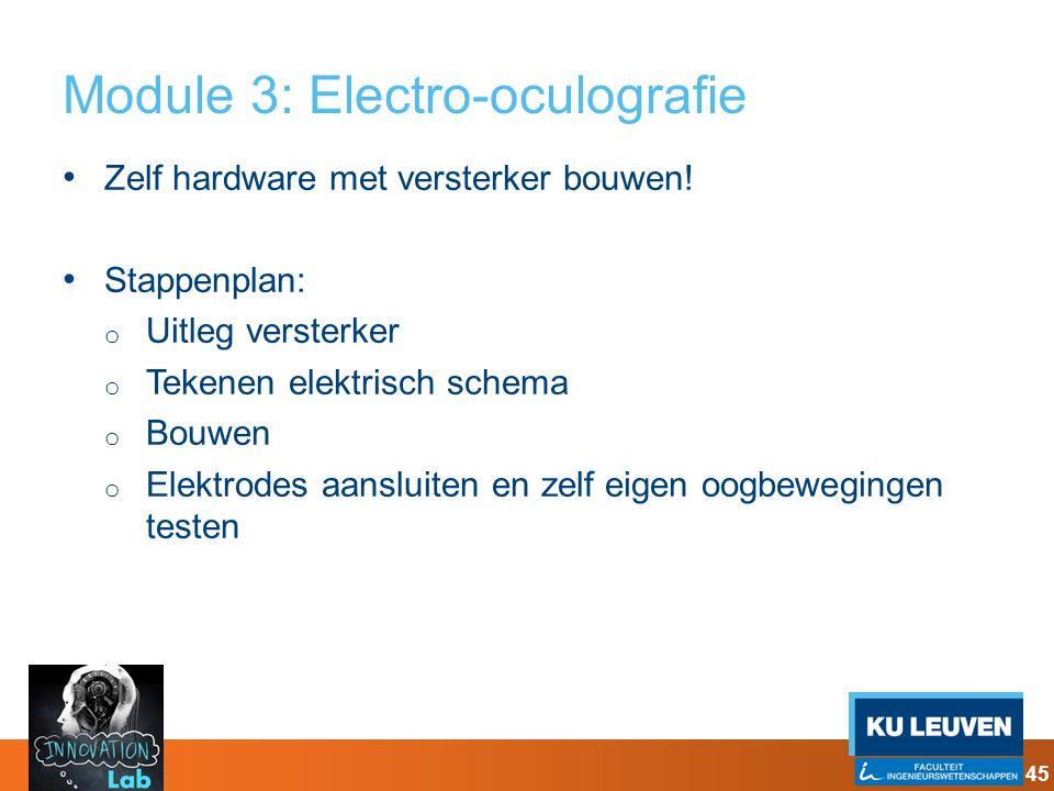 Module 3: Electro-oculografie Zelf hardware met versterker bouwen! Stappenplan: o Uitleg versterker o Tekenen elektrisch schema o Bouwen o Elektrodes