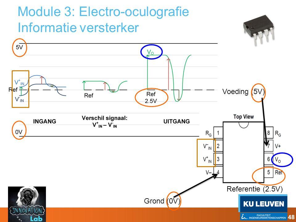 Module 3: Electro-oculografie Informatie versterker 48 Grond (0V) Voeding (5V) Referentie (2.5V)