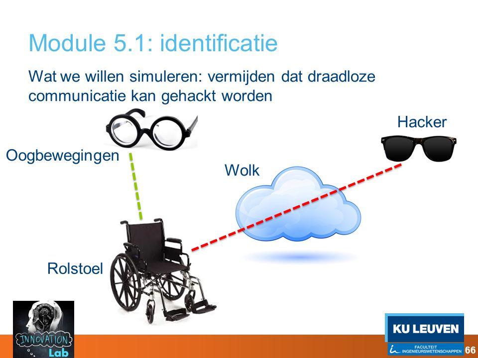 Module 5.1: identificatie Wat we willen simuleren: vermijden dat draadloze communicatie kan gehackt worden Oogbewegingen Rolstoel Wolk Hacker 66