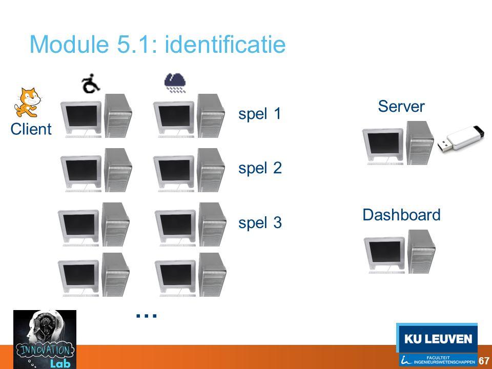 Client Module 5.1: identificatie Server … spel 1 spel 2 spel 3 Dashboard 67