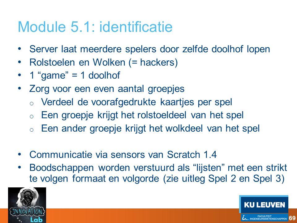 """Module 5.1: identificatie Server laat meerdere spelers door zelfde doolhof lopen Rolstoelen en Wolken (= hackers) 1 """"game"""" = 1 doolhof Zorg voor een e"""