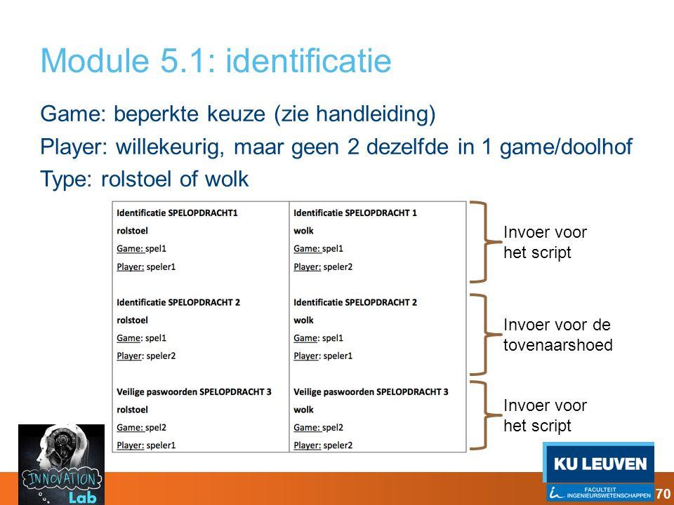 Module 5.1: identificatie Game: beperkte keuze (zie handleiding) Player: willekeurig, maar geen 2 dezelfde in 1 game/doolhof Type: rolstoel of wolk In