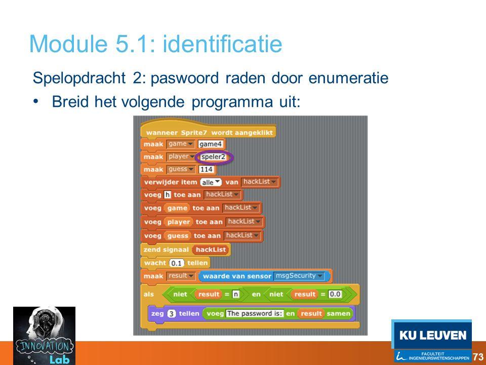 Module 5.1: identificatie Spelopdracht 2: paswoord raden door enumeratie Breid het volgende programma uit: 73