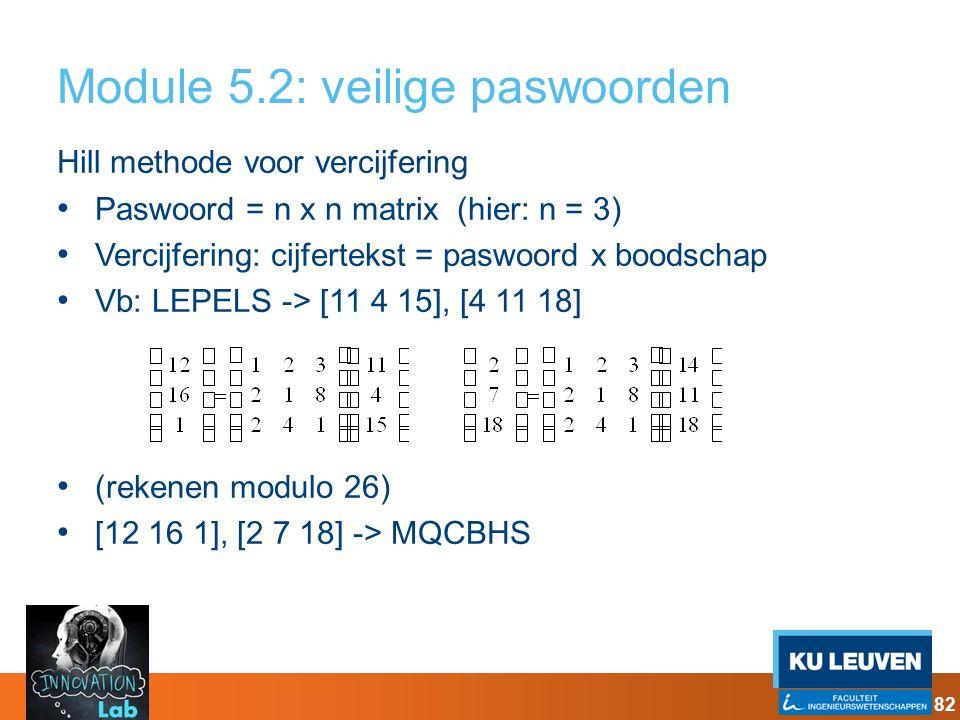 Module 5.2: veilige paswoorden Hill methode voor vercijfering Paswoord = n x n matrix (hier: n = 3) Vercijfering: cijfertekst = paswoord x boodschap V