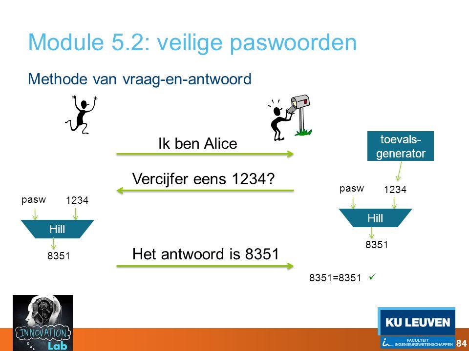 Module 5.2: veilige paswoorden Methode van vraag-en-antwoord Ik ben Alice Vercijfer eens 1234? Het antwoord is 8351 Hill 1234 8351 pasw Hill 1234 8351
