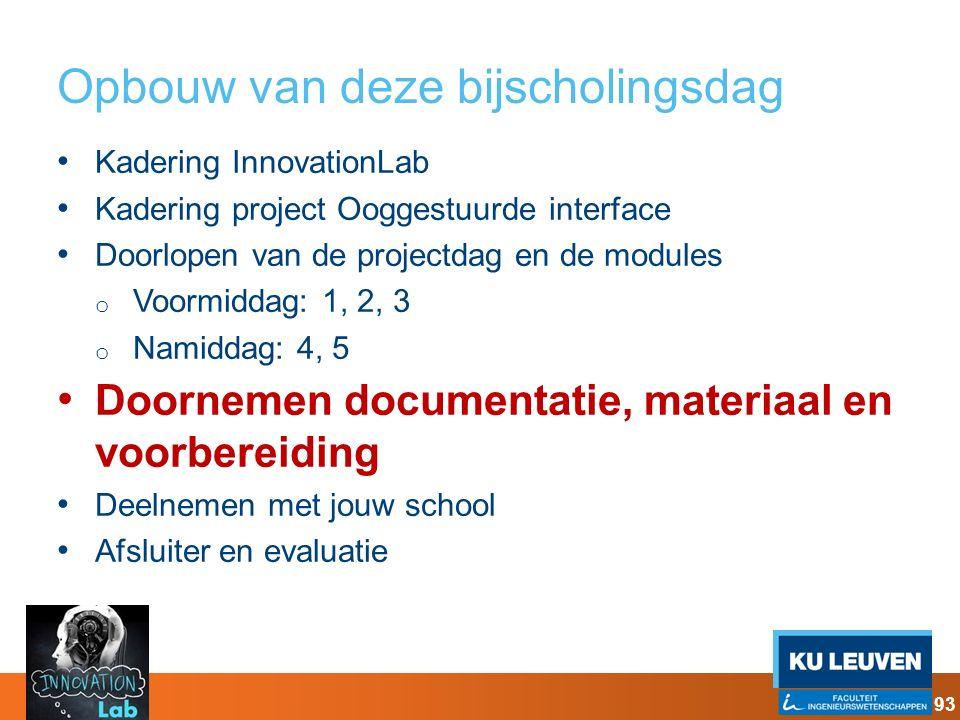Opbouw van deze bijscholingsdag Kadering InnovationLab Kadering project Ooggestuurde interface Doorlopen van de projectdag en de modules o Voormiddag: