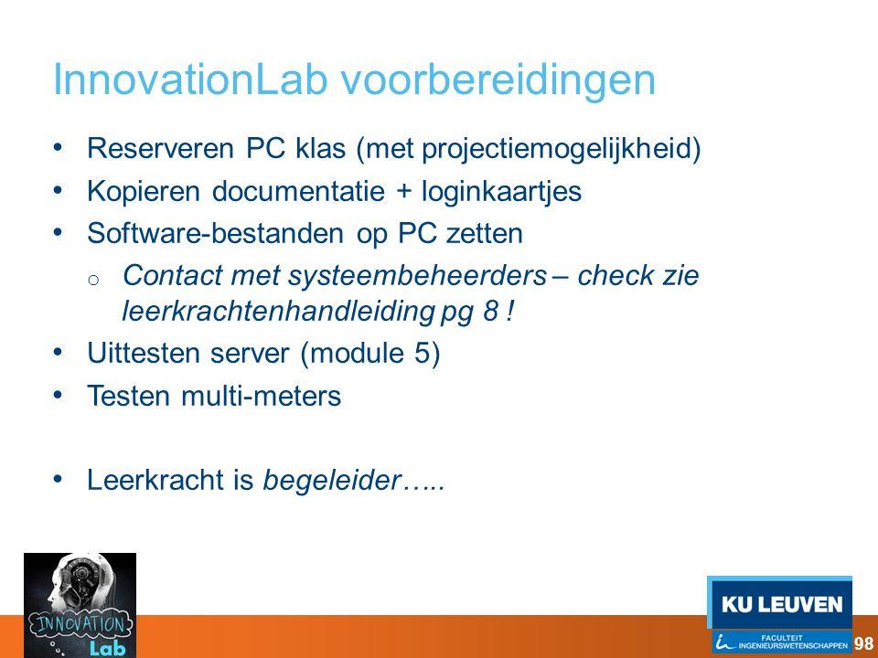 InnovationLab voorbereidingen Reserveren PC klas (met projectiemogelijkheid) Kopieren documentatie + loginkaartjes Software-bestanden op PC zetten o C