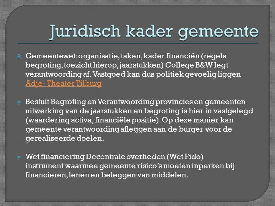 Gemeentewet: organisatie, taken, kader financiën (regels begroting, toezicht hierop, jaarstukken) College B&W legt verantwoording af.