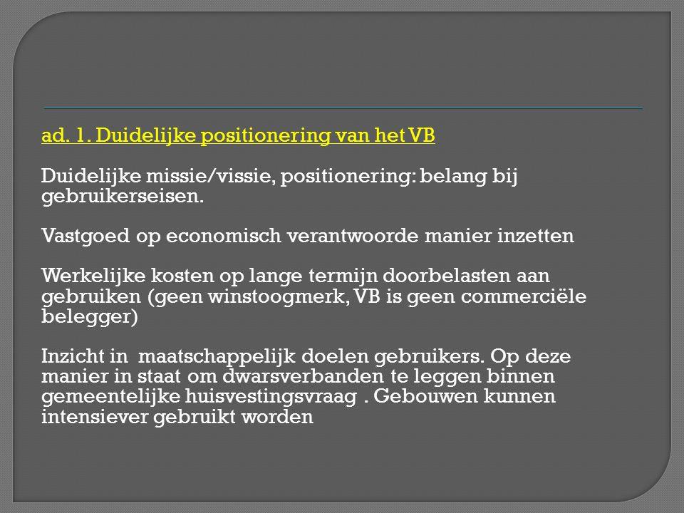 ad. 1. Duidelijke positionering van het VB Duidelijke missie/vissie, positionering: belang bij gebruikerseisen. Vastgoed op economisch verantwoorde ma