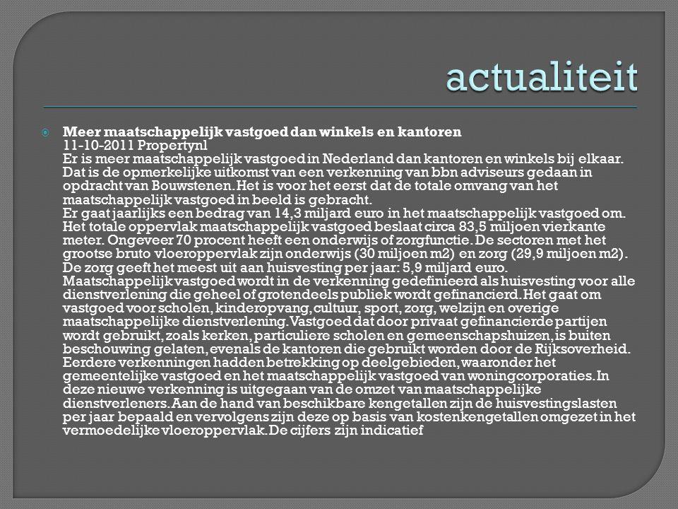  Meer maatschappelijk vastgoed dan winkels en kantoren 11-10-2011 Propertynl Er is meer maatschappelijk vastgoed in Nederland dan kantoren en winkels bij elkaar.