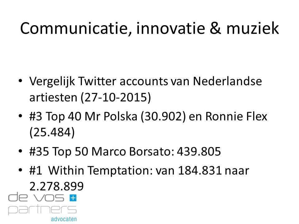 Communicatie, innovatie & muziek Vergelijk Twitter accounts van Nederlandse artiesten (27-10-2015) #3 Top 40 Mr Polska (30.902) en Ronnie Flex (25.484