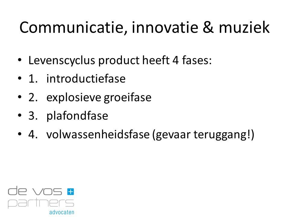 Communicatie, innovatie & muziek Levenscyclus product heeft 4 fases: 1.introductiefase 2.explosieve groeifase 3.plafondfase 4.volwassenheidsfase (geva