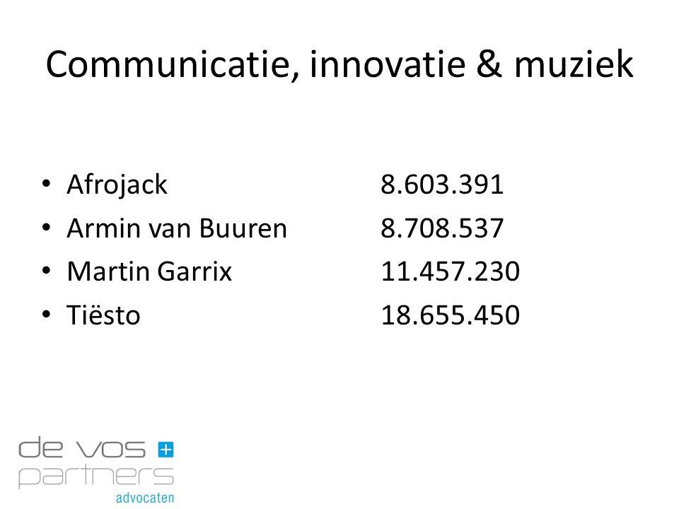Communicatie, innovatie & muziek Afrojack8.603.391 Armin van Buuren8.708.537 Martin Garrix11.457.230 Tiësto18.655.450