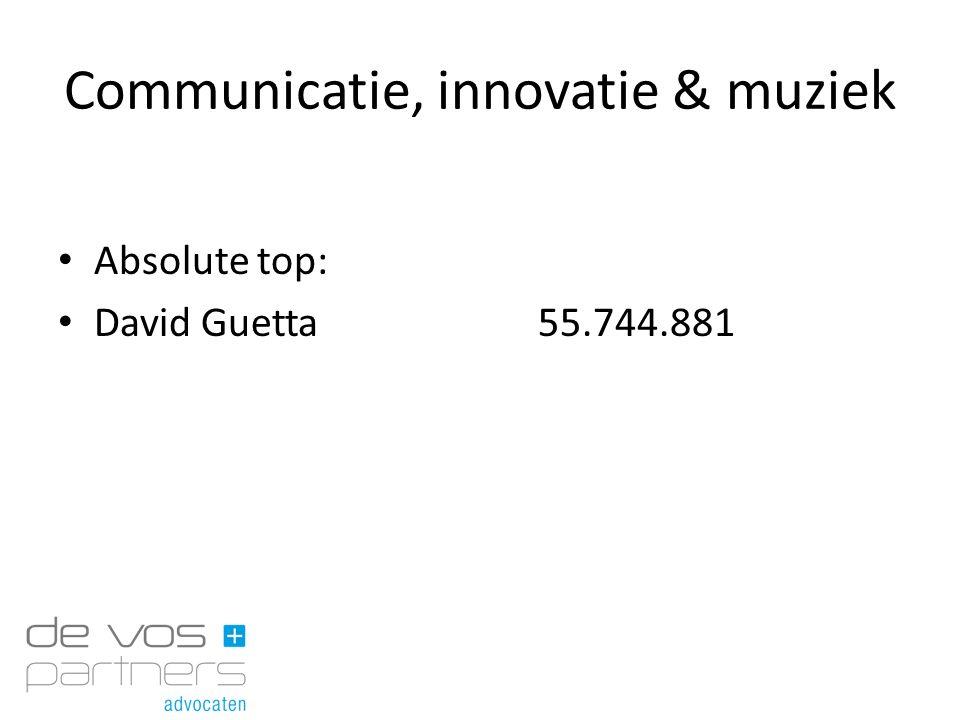 Communicatie, innovatie & muziek Absolute top: David Guetta55.744.881