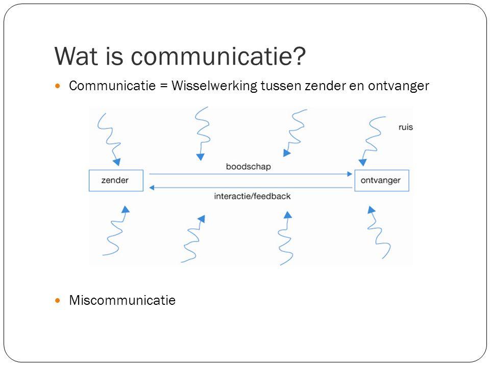 Wat is communicatie? Communicatie = Wisselwerking tussen zender en ontvanger Miscommunicatie
