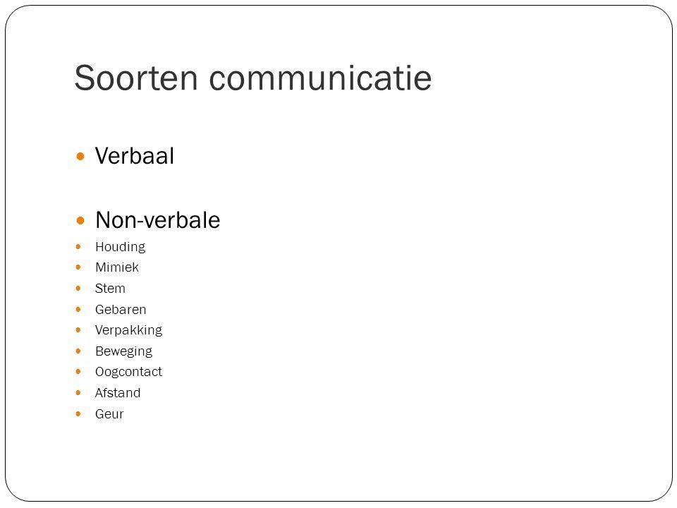 Soorten communicatie Verbaal Non-verbale Houding Mimiek Stem Gebaren Verpakking Beweging Oogcontact Afstand Geur
