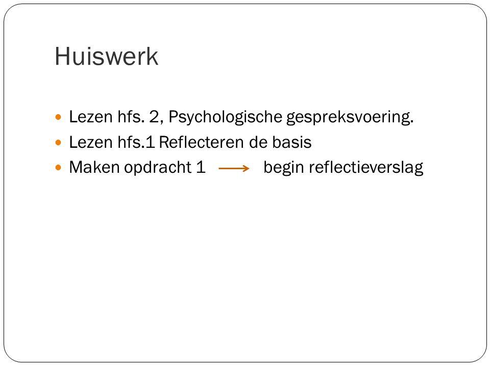 Huiswerk Lezen hfs. 2, Psychologische gespreksvoering. Lezen hfs.1 Reflecteren de basis Maken opdracht 1 begin reflectieverslag
