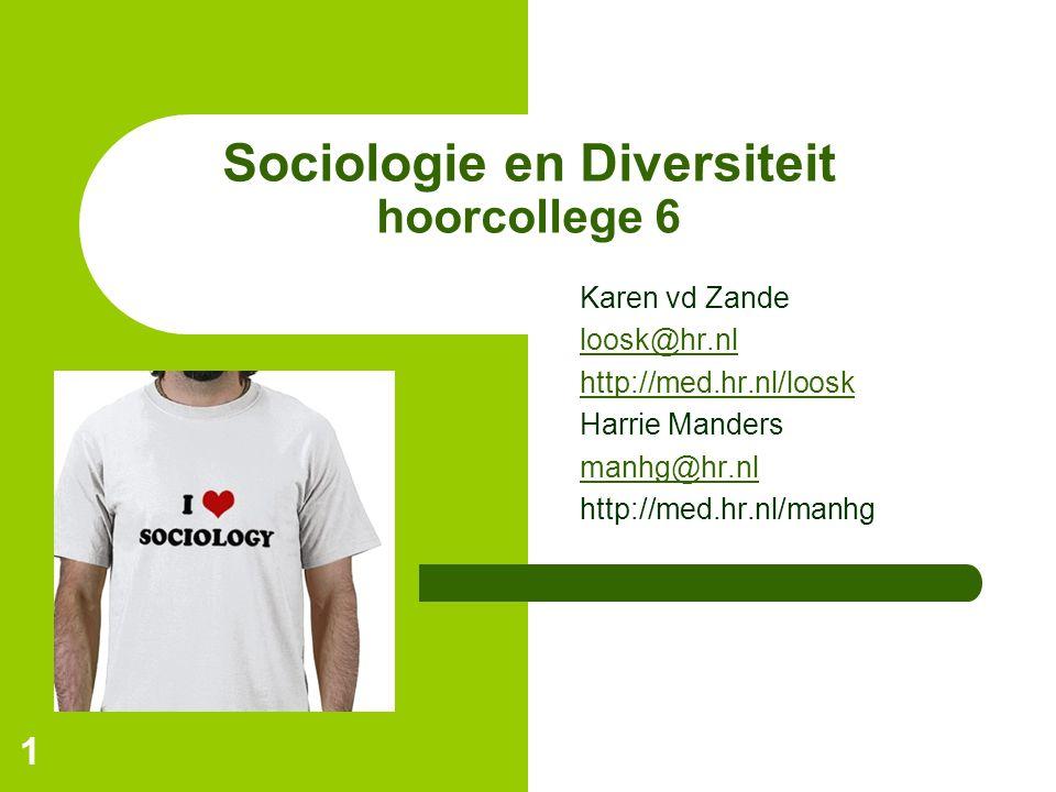 1 Sociologie en Diversiteit hoorcollege 6 Karen vd Zande loosk@hr.nl http://med.hr.nl/loosk Harrie Manders manhg@hr.nl http://med.hr.nl/manhg