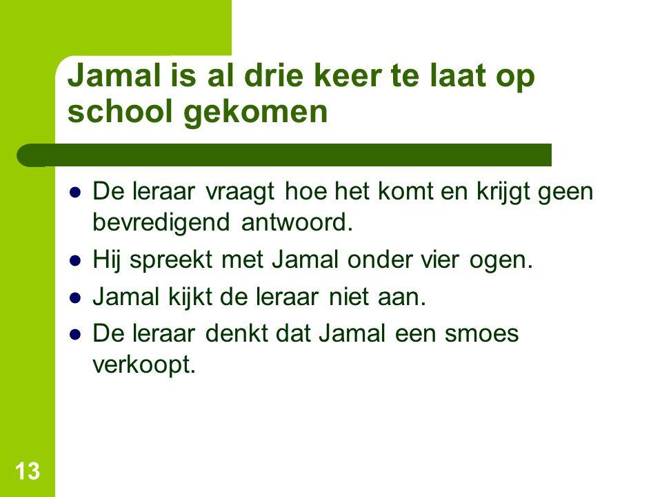 Jamal is al drie keer te laat op school gekomen ●De leraar vraagt hoe het komt en krijgt geen bevredigend antwoord. ●Hij spreekt met Jamal onder vier