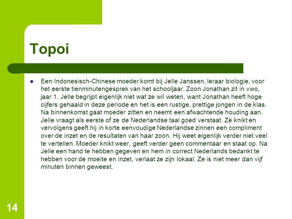 Topoi ●Een Indonesisch-Chinese moeder komt bij Jelle Janssen, leraar biologie, voor het eerste tienminutengesprek van het schooljaar. Zoon Jonathan zi