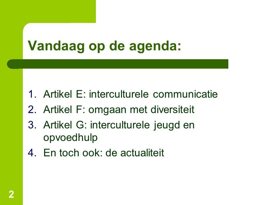 Vandaag op de agenda: 1.Artikel E: interculturele communicatie 2.Artikel F: omgaan met diversiteit 3.Artikel G: interculturele jeugd en opvoedhulp 4.E