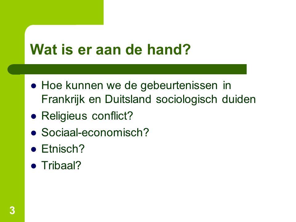 Wat is er aan de hand? ●Hoe kunnen we de gebeurtenissen in Frankrijk en Duitsland sociologisch duiden ●Religieus conflict? ●Sociaal-economisch? ●Etnis