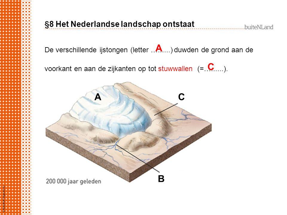 §8 Het Nederlandse landschap ontstaat De verschillende ijstongen (letter …......) duwden de grond aan de voorkant en aan de zijkanten op tot stuwwalle
