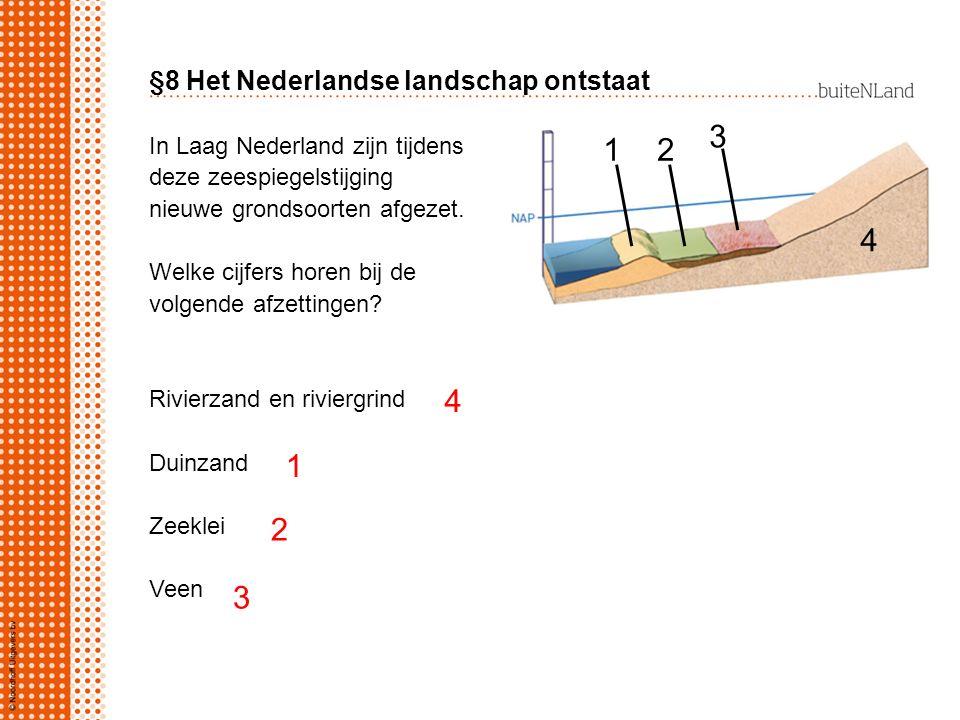 §8 Het Nederlandse landschap ontstaat In Laag Nederland zijn tijdens deze zeespiegelstijging nieuwe grondsoorten afgezet. Welke cijfers horen bij de v