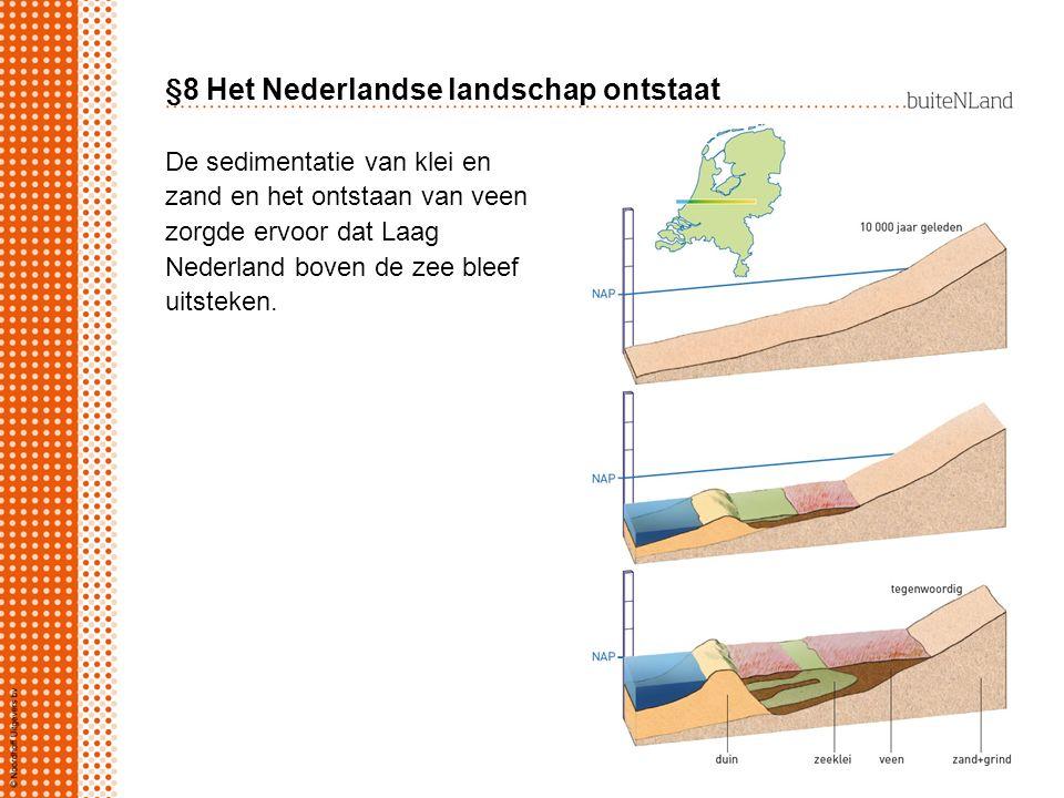 §8 Het Nederlandse landschap ontstaat De sedimentatie van klei en zand en het ontstaan van veen zorgde ervoor dat Laag Nederland boven de zee bleef ui