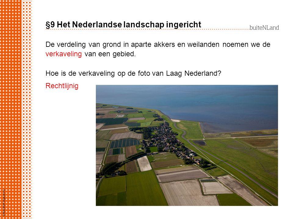 §9 Het Nederlandse landschap ingericht De verdeling van grond in aparte akkers en weilanden noemen we de verkaveling van een gebied. Hoe is de verkave