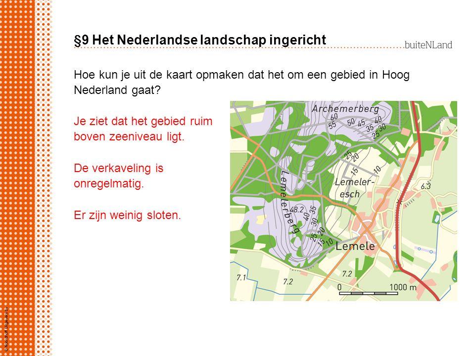 §9 Het Nederlandse landschap ingericht Hoe kun je uit de kaart opmaken dat het om een gebied in Hoog Nederland gaat? Je ziet dat het gebied ruim boven