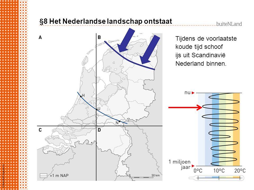 §8 Het Nederlandse landschap ontstaat De sedimentatie van klei en zand en het ontstaan van veen zorgde ervoor dat Laag Nederland boven de zee bleef uitsteken.